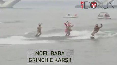Noel baba Grinch ile su kayağında kapıştı!