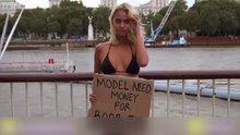 Sokakta bikinisiyle para dilendi!