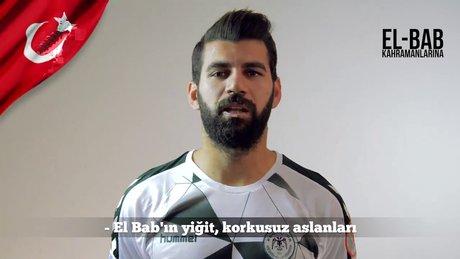 Konyasporlu futbolculardan El-Bab'daki askerlere destek