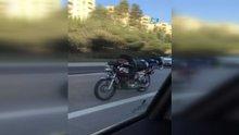 Trafikte çılgın akrobasi kamerada