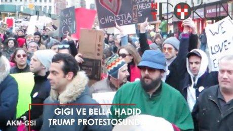 Gigi ve Bella Hadid'den Trump'a protesto