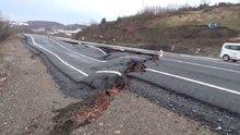 Zonguldak'ta karayolu çöktü