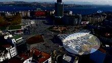 Taksim meydanına cami yapılacak yer havadan görüntülendi