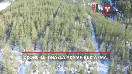 Karda kaybolan sinemacılar drone ile kurtarıldı