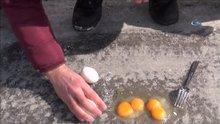 Ağrı'da asfalta kırılan yumurtalar bile dondu