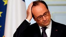 Fransa Cumhurbaşkanı Hollande'ın konuştuğu sırada silah sesi