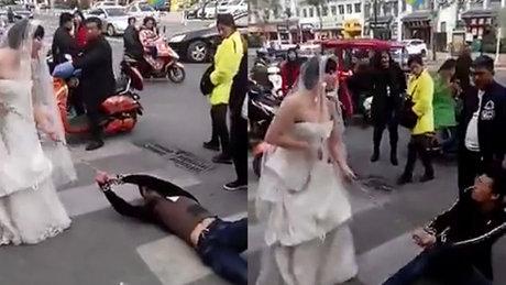 Damadı sürükleyerek düğüne götürdü