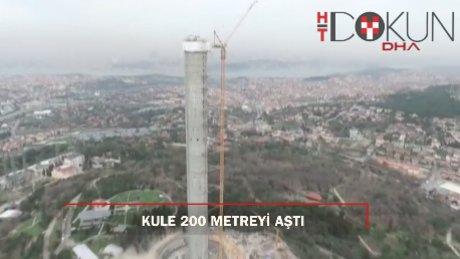 Çamlıca TV -Radyo kulesi inşaatında 200 metre aşıldı.
