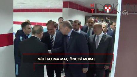Cumhurbaşkanı Erdoğan, A Milli Takım'a moral verdi