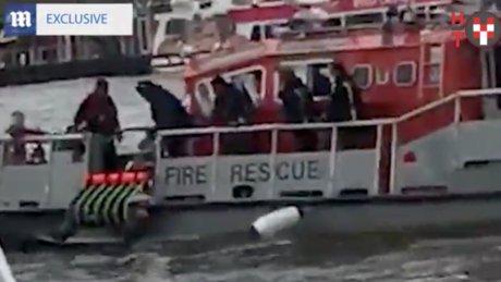 Nehre atlayan kadının kurtarıldığı anlar kameraya yansıdı