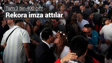 3 bin 400 çift aynı anda evlendi