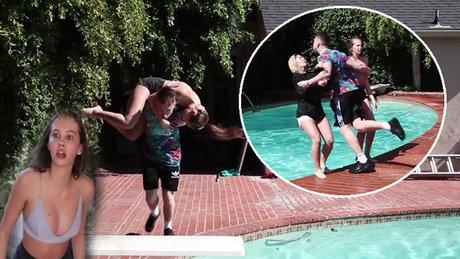 Yakaladığını havuza attı!