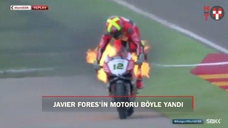 Fores'in motoru yarışta alev aldı