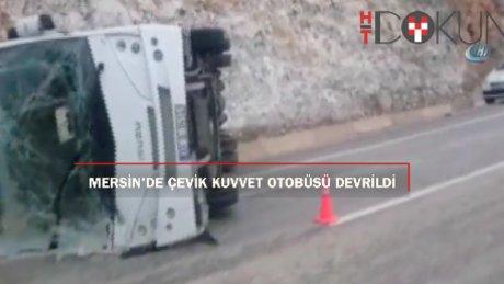 Çevik kuvvet polislerini taşıyan otobüs devrildi: 9 yaralı