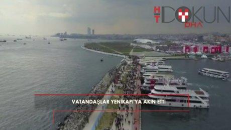 Vatandaş Yenikapı'daki mitinge akın etti