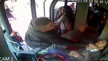 Otobüs şoförüne saldırı güvenlik kamerasında