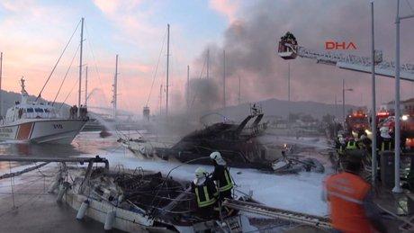 Marmaris'te yat yangını: 1 ölü, 2 yaralı