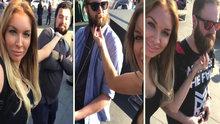 Sokaktaki erkeklerin sakallarını okşayan kadın!