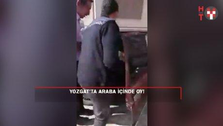 Yozgat'ta arabanın içinde oy kullandılar