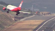 Etkili rüzgarda uçağı böyle indirdi