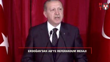 Erdoğan: 'AB'nin 16 Nisan üzerinden ülkemizin demokrasisini sorgulamasına izin veremeyiz'
