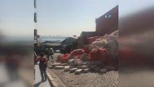 Beykoz'da hazır beton kalıpları yola böyle yıkıldı