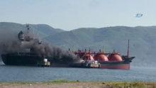 İzmit Körfezi'nde LPG tankerinde yangın
