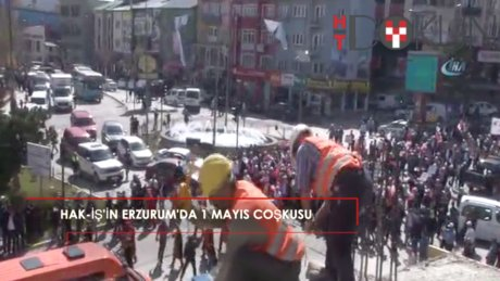 Kimi inşaatta, kimi alanda:  Hak-İş'ten Erzurum'da 1 Mayıs coşkusu!