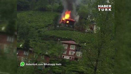 Rize Veliköy'de Gündoğdu beldesinde ev yangını