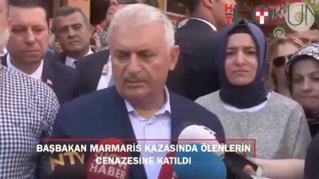 Başbakan Yıldırım, Marmaris'teki kazada vefat edenlerin cenazesinde
