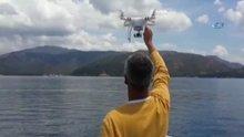 Drone'la balık avladı