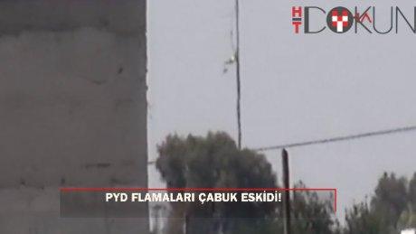 Sınırdaki ABD bayrakları ile PYD/YPG flamaları, yıpranınca indirildi