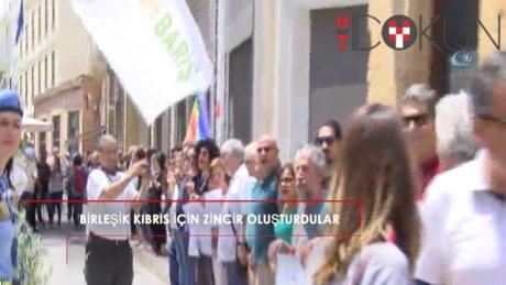 """""""Birleşik Kıbrıs Şimdi"""" etkinliğiyle Lefkoşa'da insan zinciri oluşturuldu"""