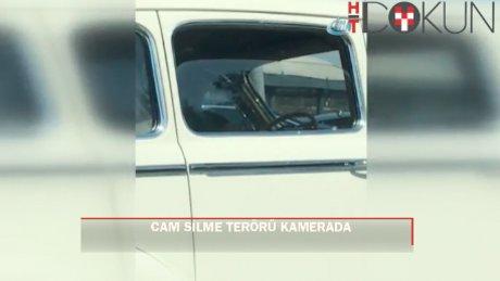 """İstanbul'da """"cam silici"""" terörü kamerada"""