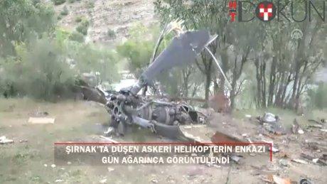 Şırnak'ta düşen helikopterin enkazı gün ağarınca görüntülendi
