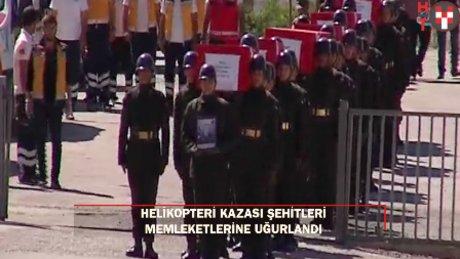 Şırnak'taki helikopter kazası şehitleri törenle memleketlerine uğurlandı