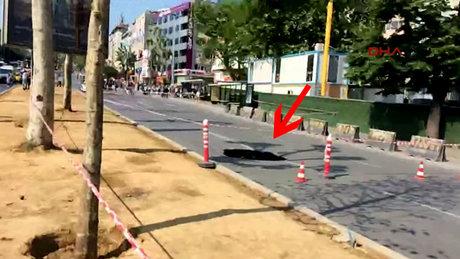 Beşiktaş Barbaros bulvarında yol çöktü