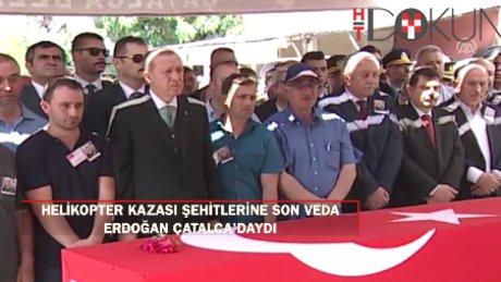 Helikopter kazası şehitleri uğurlandı: Çatalca'daki cenazeye Erdoğan da katıldı