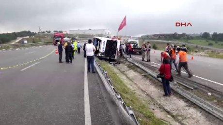 Samsun'da askerleri taşıyan otobüs yan yattı 46 asker yaralı