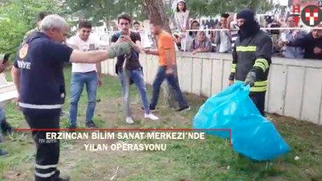 Erzincan BİLSEM'de itfaiyenin yılan operasyonu