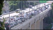15 Temmuz Şehitler Köprüsü'nde yenileme çalışması! Trafikte yoğunluk yaşandı