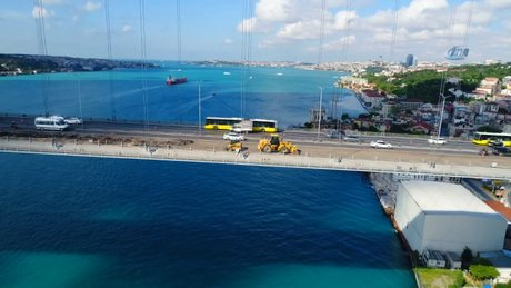 15 Temmuz Şehitler Köprüsü'nde çalışmalar havadan görüntülendi