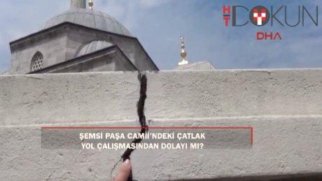 Şemsi Paşa Cami'nde yol yapım çalışmaları nedeniyle hasar oluştu