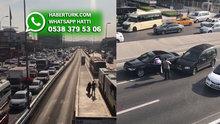Metrobüs yolundaki kaza sonrası trafik yoğunluğu!