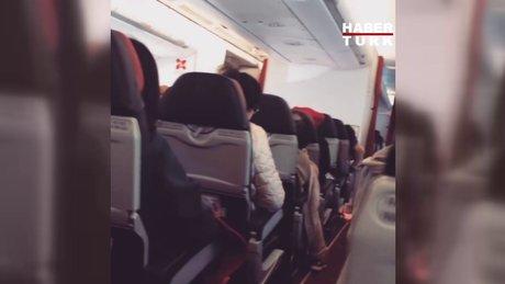 Uçakta çıkan teknik arıza sonrası koltuklar böyle sarsıldı