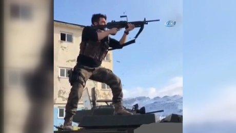 Şehit Muhammed Ali Mevlüt Dündar'ın atış eğitimi yaparken görüntüleri