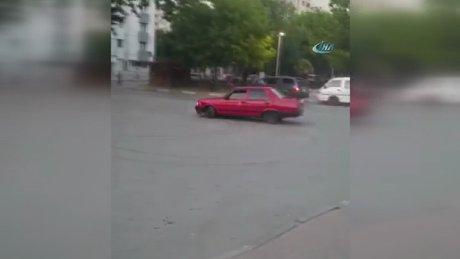 Hastane önünde 'Drift' yapan trafik magandası kamerada