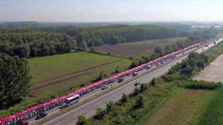 Adalet Yürüyüşü'ndeki 1100 metrelik Türk bayrağı havadan görüntülendi