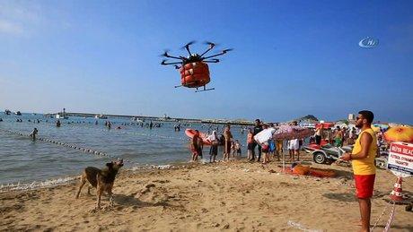 İstanbul Plajlarında Drone'lu Kurtarma