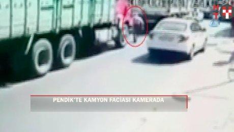 Pendik'te kamyon faciası kamerada
